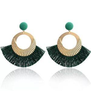 Jewelry - 👑Big Circle Gold/GREEN Tassel Dangle Earrings👑